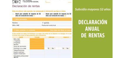 Cómo presentar la declaración anual de rentas en el subsidio para mayores de 52 / 55 años
